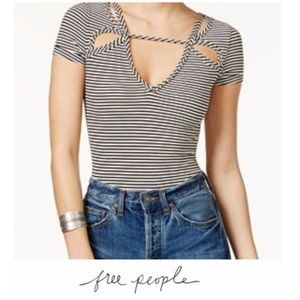Free People Striped Ribbed Cut Out Top
